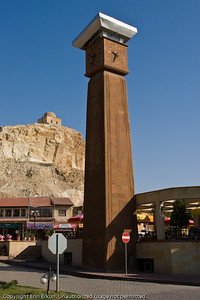 """With its white cap, the clock tower in downtown Ürgüp represents a stylized """"fairy chimney."""""""