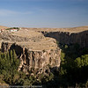 """Our first glimpse of Ihlara Valley is from a roadside overlook not far from the town of Ihlara.  This canyon, sometimes referred to as the """"Grand Canyon of Turkey"""" was created when the Melendiz River found its way through cracks in the cooling basalt and andresite lava from Mount Hasan."""