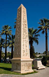 Kültür Park - A miniature Dikilitaş (Obelisk) is one of the statues erected during the Marble Fair several years ago.