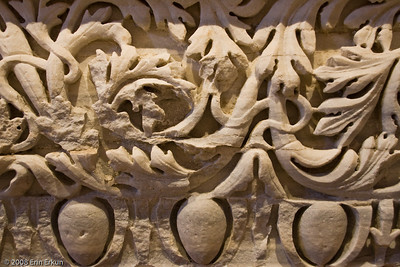 """Fragment of an Architrave - Roman Period (Agora of Smyrna [İzmir]) History & Art Museum - Kültür Park  An architrave is a moulded or ornamental band framing a rectangular opening.  The popular """"egg and dart"""" (an egg-shaped ornament alternating with a dart-like ornament) was used to edge this piece."""