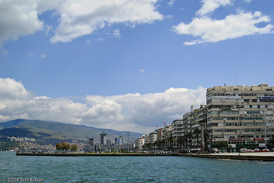 Kordon - View of the waterfront promenade and the modern day apartment buildings that overlook the Bay of İzmir.