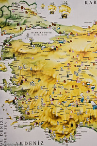 This map, displayed in the Stone Works Building, shows sites of antiquity in Western Turkey. History & Art Museum - Kültür Park