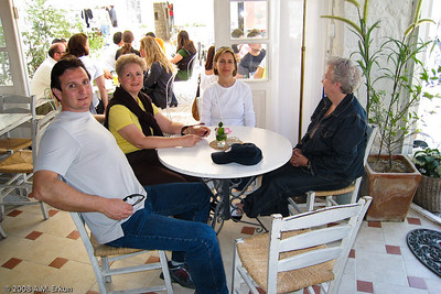 Waiting for refreshments (L to R: Murat, me, Aylin and Mom ... can you guess who doesn't like to have her photo taken?)