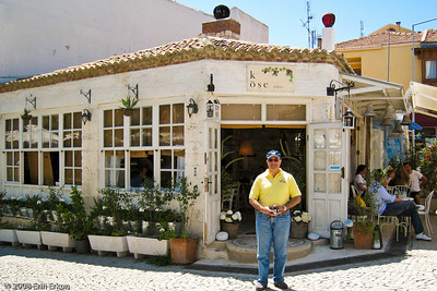 There are many quaint and cozy cafés in Alaçatı; we're going to enjoy some refreshments at Köşe Kahve (Corner Café).
