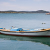 Fishing boat near the waterfront promenade on Cunda Island.