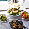 Yummy!  Some of the tapas-style dishes we will be enjoying shortly at a seafood restaurant on the waterfront promenade on Cunda Island.
