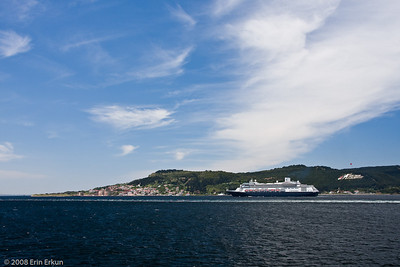 Holland America's Rotterdam making its way to the mouth of the Dardanelles (Çanakkale Boğazı).