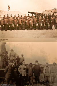 A WWI-era photograph of Turkish soldiers - one of many on exhibit inside the center bunker at Namazgah Tabyası.