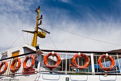 "The bridge of the ferry, ""Lapseki."""
