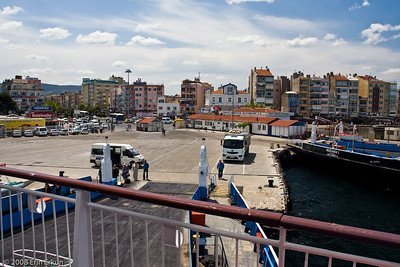 View of Çanakkale from the aft deck of the ferry.