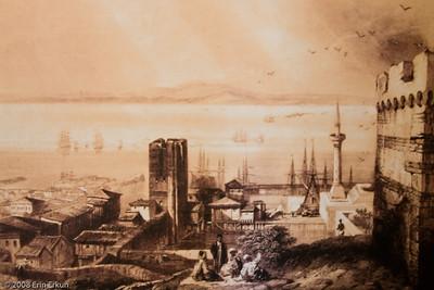 Artwork depicting the Dardanelles on display inside the center bunker at Namazgah Tabyası.
