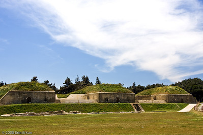 Some of the bunkers at Namazgah Tabyası.  The battery has been renovated and converted into a naval war museum; many of the bunkers contain exhibits, but most are locked up today.
