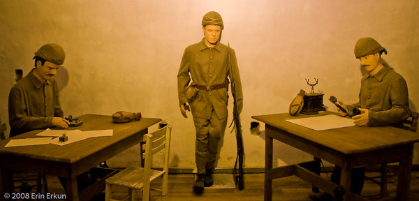 An exhibit inside the center bunker at Namazgah Tabyası recreates a WWI-era Turkish army communications room.