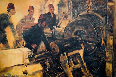 An oil painting on display inside one of the bunkers at Namazgah Tabyası.
