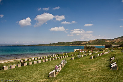 Arıburnu Cemetery on the Anzac Cove Loop - a very moving place, and definitely worth rolling around on the grass to capture this angle.