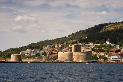 A closer look at Kilitbahir Fortress and Sarı Kule (far left) as we make the Dardanelles crossing on the ferry.
