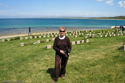 "An ""I was there"" photo op at Arıburnu Cemetery on the Anzac Cove Loop."