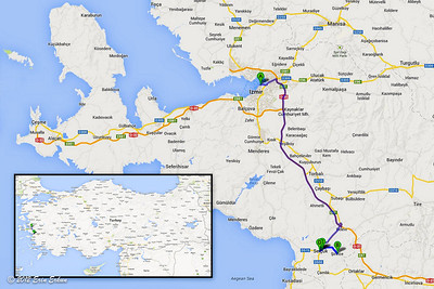Day trip from İzmir to Ṣirince (B), Ephesus (C), and the Selçuk Train Museum (D). 20 Oct 2012