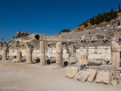Ephesus - Bouleuterion; housed the meeting council as as musical performances and contests.  The originally roofed semi-circular auditorium is bonded to a stage wall.  It was erected around AD 100-150, with a new stage building constructed sometime between AD 138-161. 20 Oct 2012
