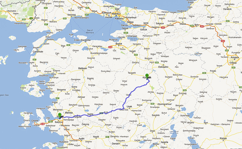 İzmir to Kütahya is approx. 215 miles (346 km) by bus; just under 6 hours by bus, including a break for lunch.<br /> 10 Oct 2012