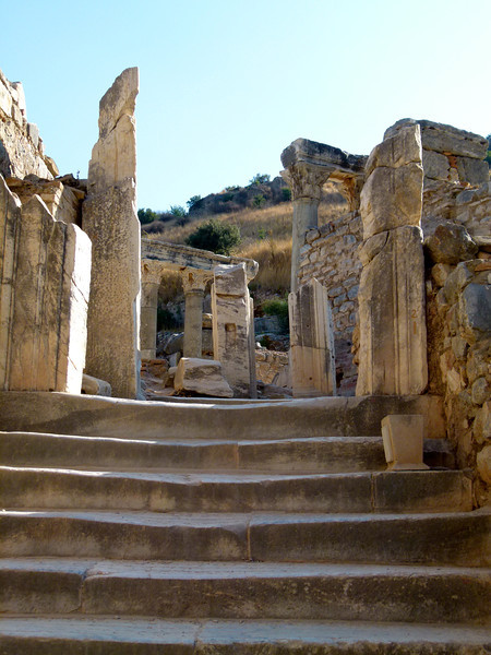 Stone stairs lead to more ruins on an Ephesus shore excursion.