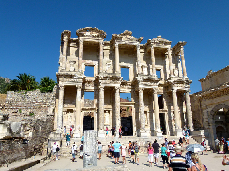 The two-storied Library of Celsus in Ephesus.