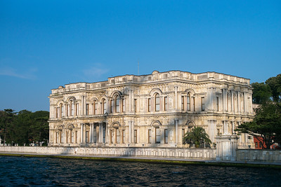 Beylerbeyi Palace in shadow of Bosphorus Bridge