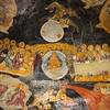 Last Judgment condemned on left saved on right Adam & Eve below w flames & river of blood Chora Church fresco
