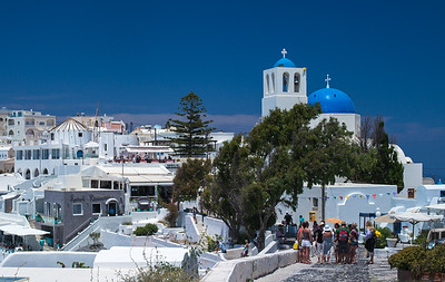 blue church & tourists Imeroviglia Santorini