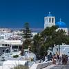 blue church & tourists Imeroviglia Santorini