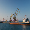 Zeybe Turkish ship and crane Heraklion Harbor