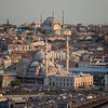 Suleiman Mosque New Mosque & Iatanbul hillside from Galata Tower