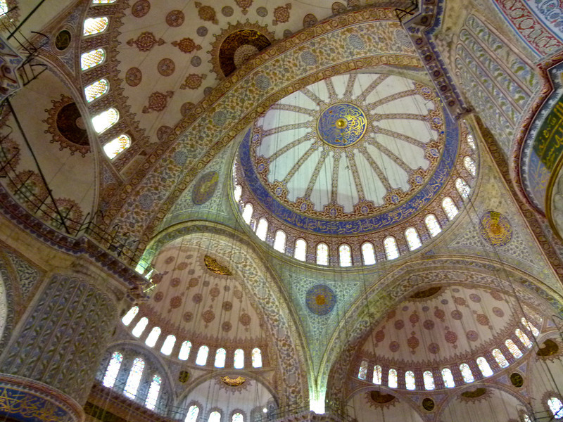 Ceiling of the Blue Mosque in Istanbul, Turkey