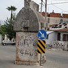 A Lycian tomb in the middle of a street in Fethiye, Turkey.