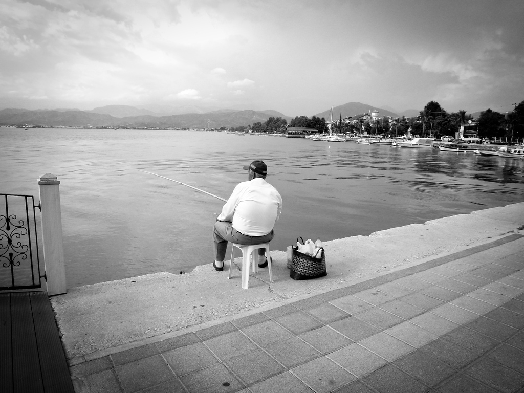 man fishing fethiye turkey