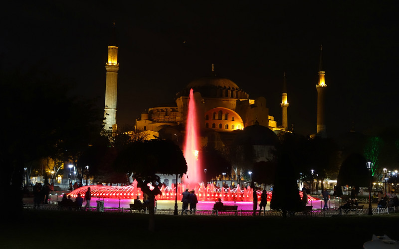 Colourful fountains in front of the Hagia Sophia