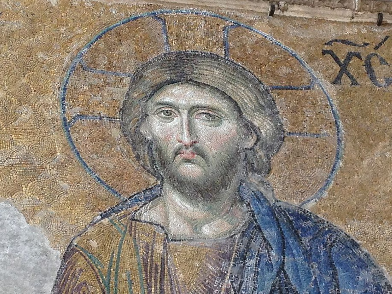 Detail of 14th century mosaic of Jesus Christ.