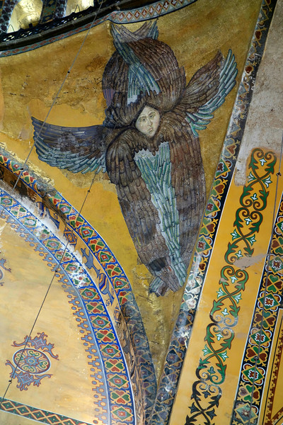 Restored angel on arch of dome, Hagia Sophia