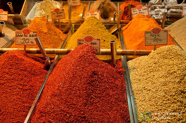 Spices Piled High at Spice Market - Istanbul, Turkey