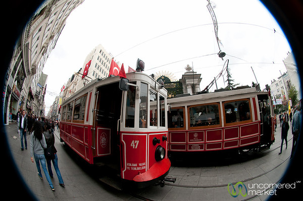 Tram in Fisheye on Istiklal Avenue - Istanbul, Turkey