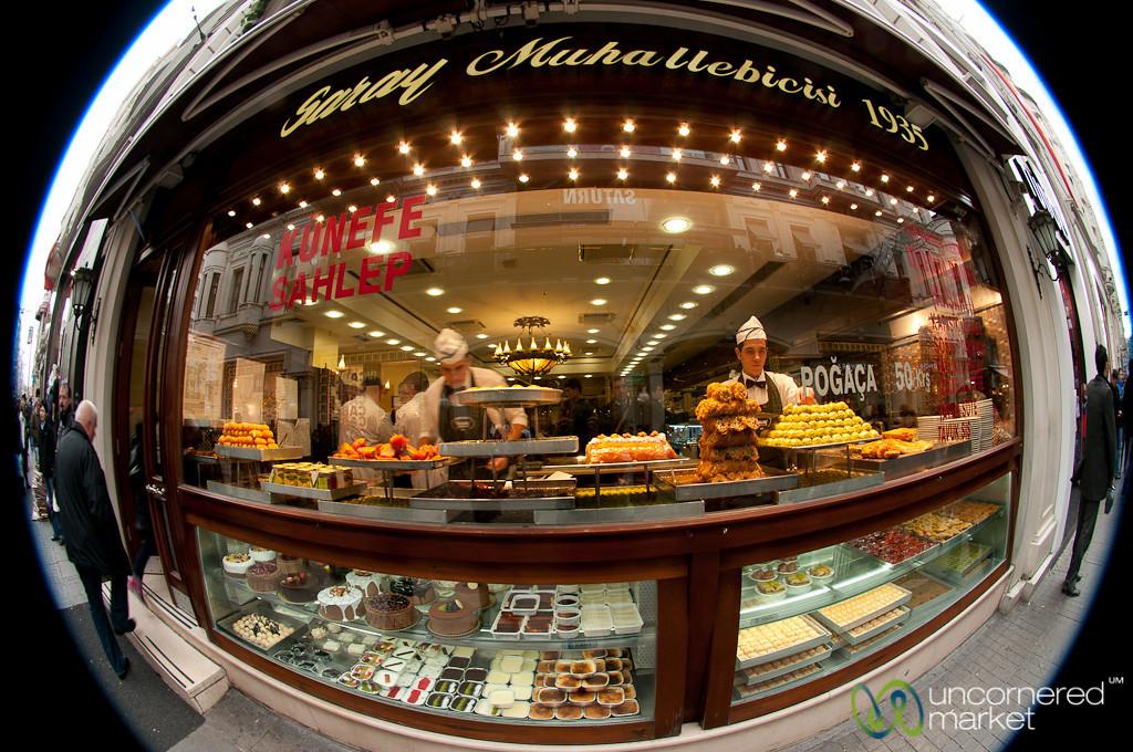 Fisheye View of Pastry Shop - Istanbul, Turkey