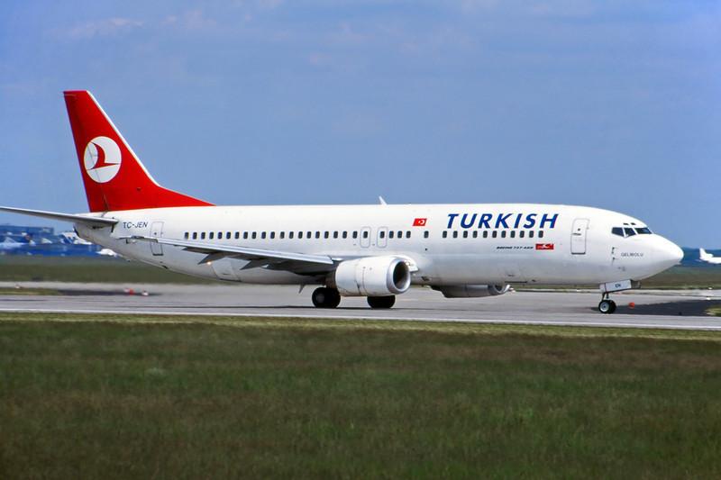 TC-JEN Boeing 737-4Q8 c/n 25376 Frankfurt/EDDF/FRA 09-05-99 (35mm slide)