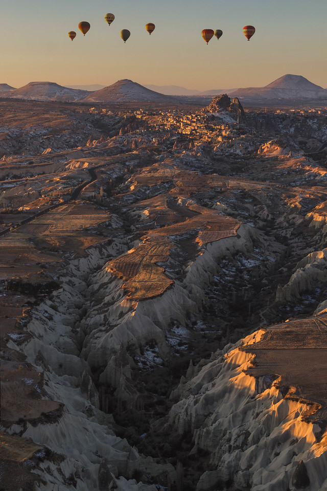 Sunrise over the awesome Cappadocia landscape