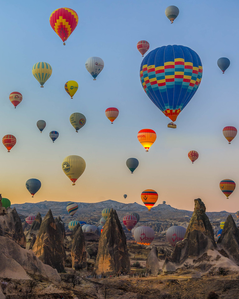 Balloons take to the air in Cappadocia, Turkey