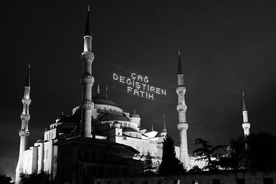 Blue Mosque Illuminated At Night