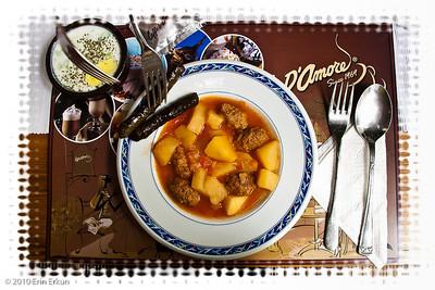 "19 April 2010 - Around Alsancak Lunch at Amore - on the menu: ""Patatesli Köfte"" (potatoes with Turkish meatballs); ""Cacık"" (cold yogurt and cucumber soup); ""Yaprak Sarma"" (stuffed grape leaves)."