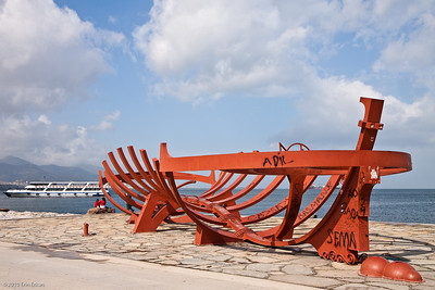 "20 April 2010 - Konak A modern sculpture entitled ""Asırlardır Tekne"" (roughly, Craft of the Ages) - by Bihrat Mavitan.  Too bad people have seen fit to scribble graffiti on it."