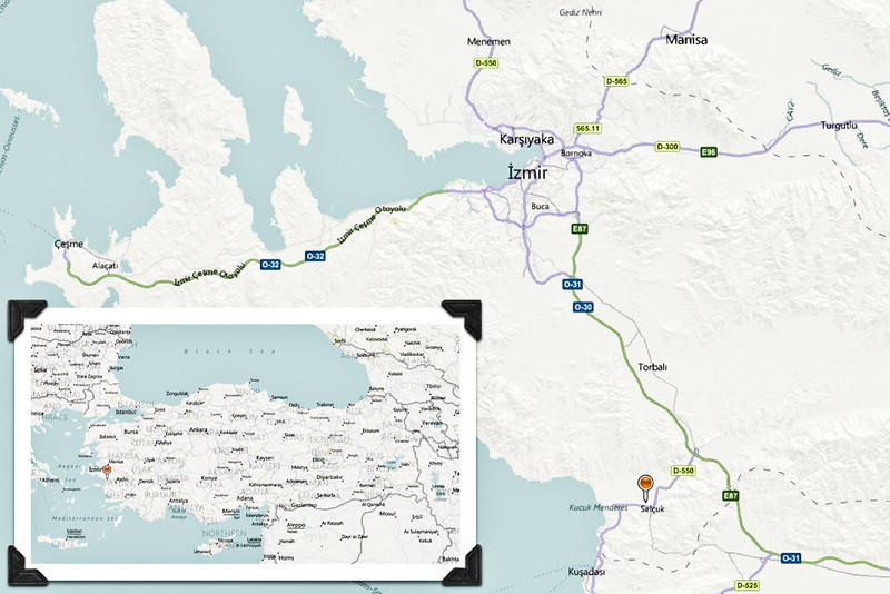 18 April 2010 - Day Trip to Efes<br /> Map showing the location of Efes (Ephesus) in relation to İzmir.  The two other places we visited, Şirince and Meryemana (House of the Virgin Mary), are also in the immediate vicinity.