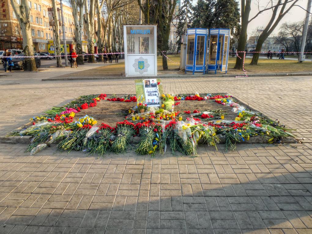 donetsk memorial protestor killed