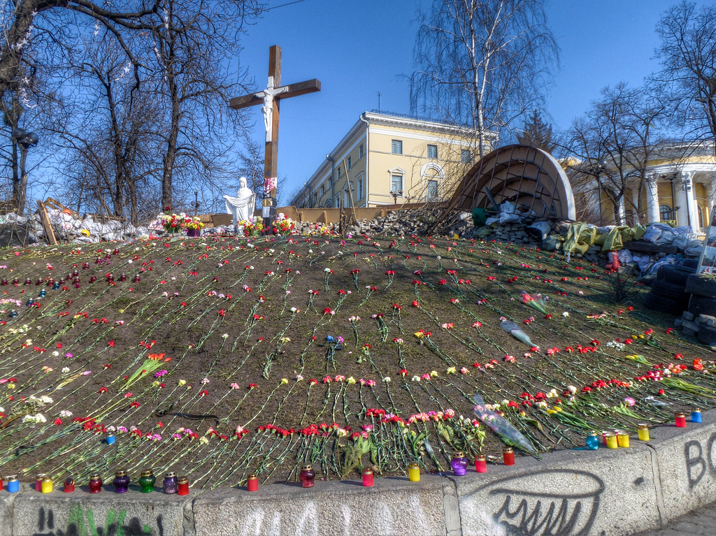 kiev maidan cross memorial flowers